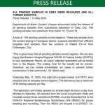 Press Release: All pending samples in Cebu were released and all turned Negative.